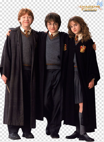 Harry Potter, Hermione Granger, and Ron Weasley, Robe Hermione Granger Harry Potter Ron Weasley Hogwarts, potter transparent background PNG clipart png image transparent background