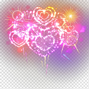 Purple and yellow heart flower , Fireworks, Gorgeous fireworks transparent background PNG clipart png image transparent background