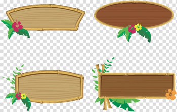 Four brown wooden signage boards illustration, Frames Tiki culture , Hawaiian party transparent background PNG clipart png image transparent background