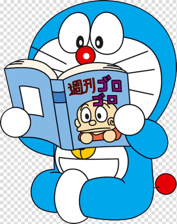 Doraemon reading book graphic, Doraemon: Nobita to Yousei no Kuni Comic book Animation, doraemon transparent background PNG clipart png image transparent background
