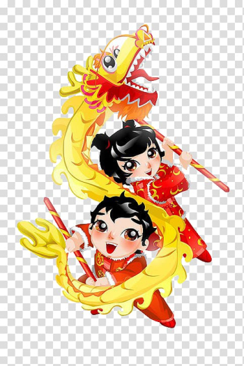 Yellow Chinese dragon , Dragon dance Lion dance Chinese New Year Cartoon, Chinese New Year dragon painted children transparent background PNG clipart png image transparent background