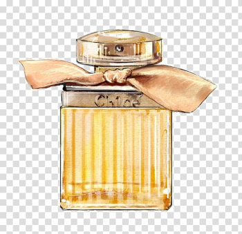 Yellow fragrance bottle, Chanel No. 5 Watercolor painting Perfume Illustration, perfume transparent background PNG clipart png image transparent background