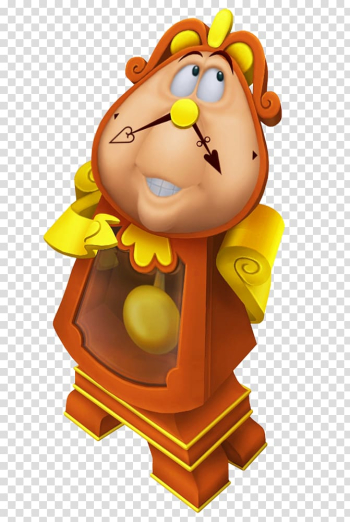 Brown and yellow clock character, Kingdom Hearts II Kingdom Hearts 358/2 Days Kingdom Hearts χ Kingdom Hearts: Chain of Memories Cogsworth, Cogsworth Beauty and the Beast Cartoon transparent background PNG clipart png image transparent background