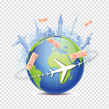 Earth with landmarks atop illustration, Globe World map Earth Travel, Global Travel transparent background PNG clipart png image transparent background