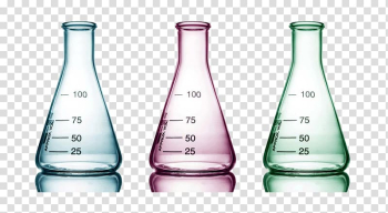 Pink, green, and gray measuring bottles, Beaker Test tube Laboratory glassware, Color glass beaker transparent background PNG clipart png image transparent background