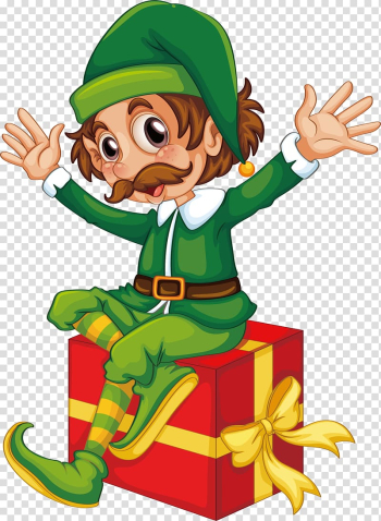 Christmas elf Santa Claus Duende, The clown sitting on the gift box transparent background PNG clipart png image transparent background