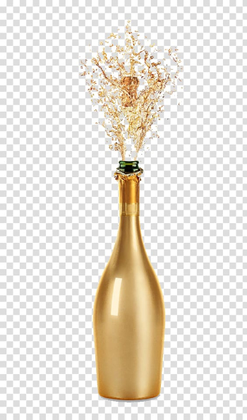 Opened glass bottle illustration, Champagne Wine glass Fizz, Gold champagne transparent background PNG clipart png image transparent background
