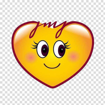 Yellow heart illustration, Emoji Heart Smiley Sticker, Smile love transparent background PNG clipart png image transparent background