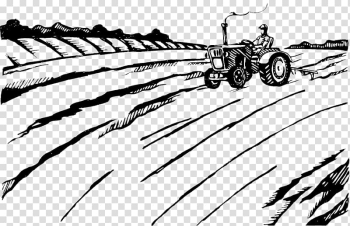 Agriculture Plough Farmer Tractor Illustration, Black and white illustrations; tractors; farm farming transparent background PNG clipart png image transparent background