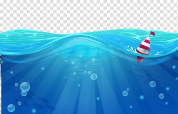 Red and white boat on body of water, Cartoon Sea Wind wave, Blue Wave transparent background PNG clipart png image transparent background