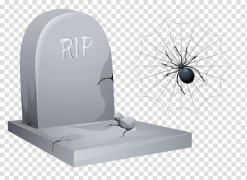 RIP tombstone and black spider , Headstone Halloween , Halloween RIP Tombstone with Spider and Web transparent background PNG clipart png image transparent background