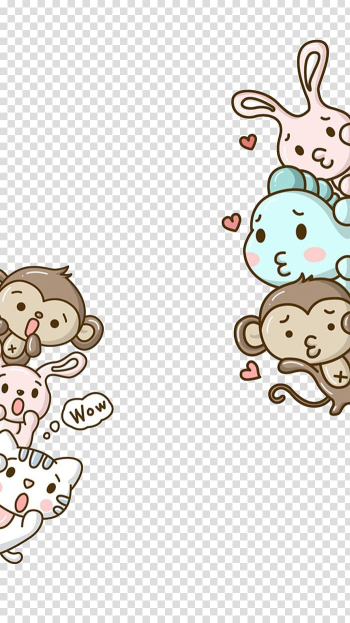 Assorted animal , Monkey Hello Kitty Cartoon Cuteness , Small animals transparent background PNG clipart png image transparent background