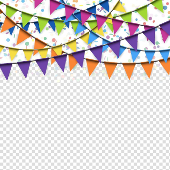 Multicolored buntings, Flag Confetti Banner, Flags hanging festive atmosphere transparent background PNG clipart png image transparent background