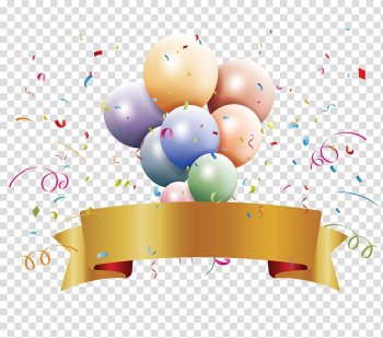 Balloons and ribbon , Party Birthday Ribbon , Awards ceremony transparent background PNG clipart png image transparent background