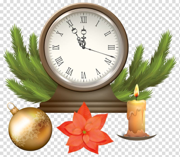 Round silver-colored analog clock illustration, Public holiday Christmas Clock , Christmas Clock with Decorations transparent background PNG clipart png image transparent background
