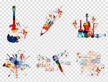 Assorted-color instrument painting, Music Graphic design , Abstract creative music element style wind transparent background PNG clipart png image transparent background