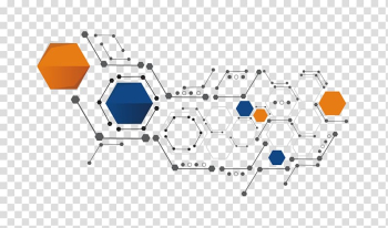 Orange, white, and blue hexagons illustration, Shape Hexagon, Science and technology shape transparent background PNG clipart png image transparent background