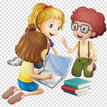 Animated girl using laptop, Student Cartoon Learning Education, Pupils discuss learning transparent background PNG clipart png image transparent background