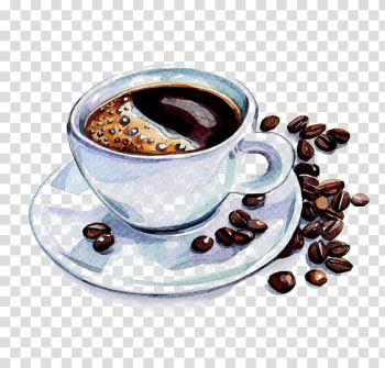 Coffee beans with coffee cup illustration, Coffee cup Latte Cafe Watercolor painting, coffee transparent background PNG clipart png image transparent background