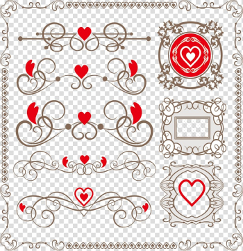 Red and brown hearts , Heart-shaped lace border transparent background PNG clipart png image transparent background
