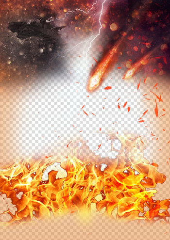 Fire, The smoke of war material, lightning and meteor painting transparent background PNG clipart png image transparent background