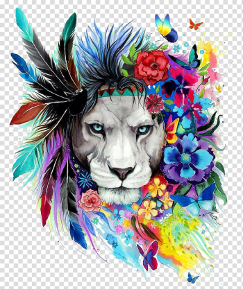 Lion Art Drawing Poster Painting, The Lion King, gray lion with feather and flowers headdress transparent background PNG clipart png image transparent background