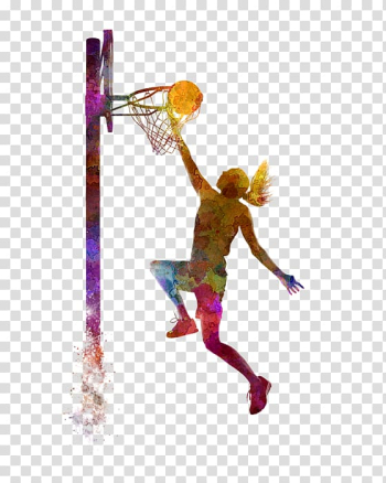 Person playing basketball graphic, Women's basketball Sport Slam dunk Painting, basketball transparent background PNG clipart png image transparent background