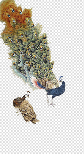 Two brown and blue peacocks illustration, Graphic design Peafowl, Antique Peacock transparent background PNG clipart png image transparent background