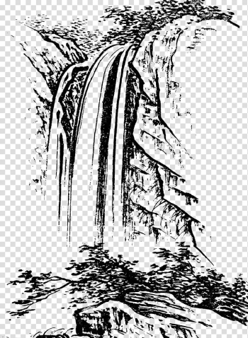 Waterfalls , u4e2du56fdu767du63cf Shan shui Landscape painting Chinese painting, White sketch simple pen and water painting material transparent background PNG clipart png image transparent background