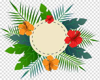 Tropical flower leaves the title box, orange and red flowers illustration transparent background PNG clipart png image transparent background