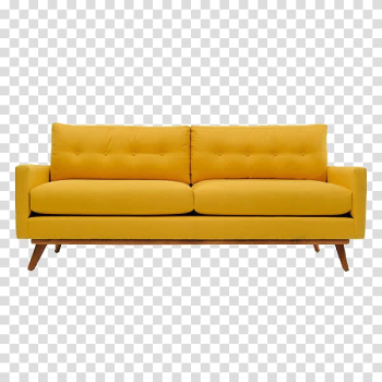 Tufted yellow padded couch with brown wooden frame, Couch Mid-century modern Table Sofa bed Furniture, A sofa transparent background PNG clipart png image transparent background