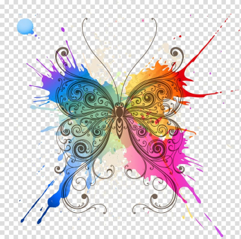 Butterfly Abstract art Pattern, Butterfly splash, pink multicolored butterfly splash transparent background PNG clipart png image transparent background