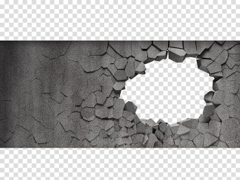 Stone wall Wall decal Brick, Broken wall, cracked surface 3D transparent background PNG clipart png image transparent background