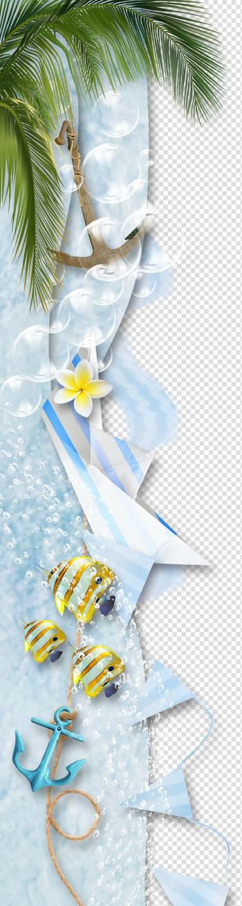 Scrapbooking , Coconut tree Barb rope, white and blue buntings digital wallpaer transparent background PNG clipart png image transparent background