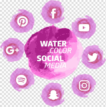 Water Color Social Media logos, Social media Social network Icon, Pink Watercolor Social Tools transparent background PNG clipart png image transparent background