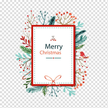 Christmas card Watercolor painting, Christmas decorative border pattern background transparent background PNG clipart png image transparent background
