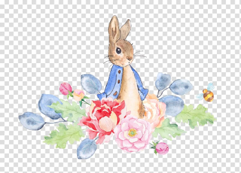 The Tale of Peter Rabbit Watercolor painting , Rabbit and flowers, illustration of rabbit transparent background PNG clipart png image transparent background