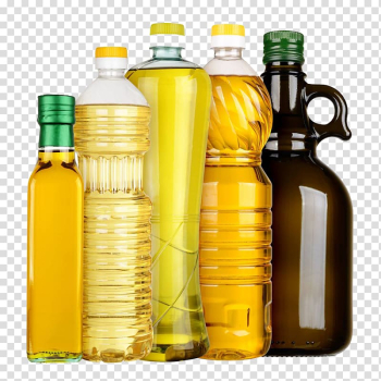 Five oil bottles, Vegetable oil Cooking oil Canola Olive oil, 5 bottles of cooking oil transparent background PNG clipart png image transparent background