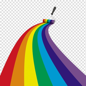 Paint roller painting rainbow , Drawing Brush Illustration, Color paint roller road transparent background PNG clipart png image transparent background