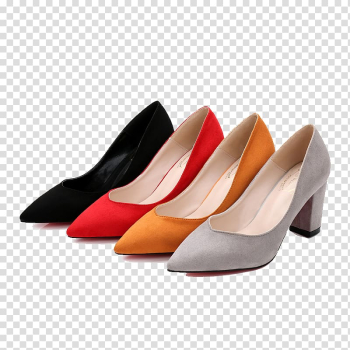 Shoe High-heeled footwear, Four different color style heels transparent background PNG clipart png image transparent background