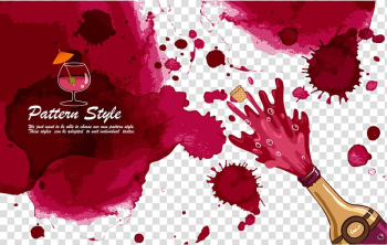 Red Wine Watercolor painting, Bottles and ink transparent background PNG clipart png image transparent background