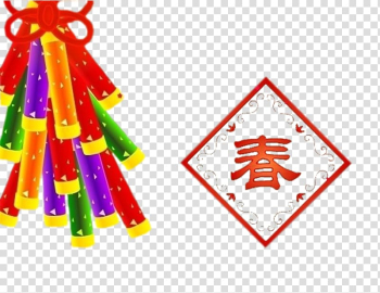 Chinese New Year Animation Greeting card Adobe Animate, Color red firecracker Chinese New Year Spring word element transparent background PNG clipart png image transparent background