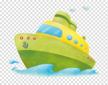 Cartoon Ship Illustration, Cartoon hand painted colored green ship transparent background PNG clipart png image transparent background