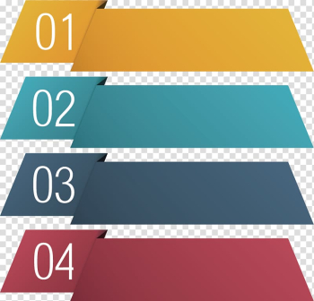 Four yellow, green, gray, and red ribbons with numbers illustration, Infographic illustration Illustration, PPT element transparent background PNG clipart png image transparent background