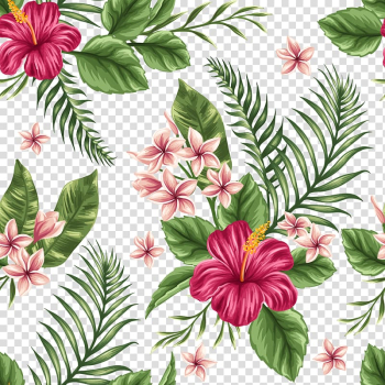 Pink and red flowers illustraton, Flower Tropics Watercolor painting, Hand-painted flowers background transparent background PNG clipart png image transparent background