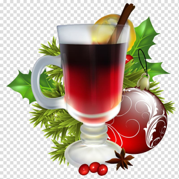Clear glass filled with red liquid illustration, Christmas decoration Santa Claus Christmas ornament, Christmas Tea with Christmas Decorations transparent background PNG clipart png image transparent background