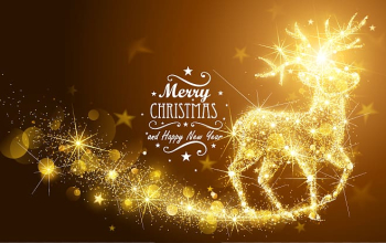 Merry Christmas text illustration, Santa Claus Christmas card Illustration, Golden light effect Christmas reindeer transparent background PNG clipart png image transparent background