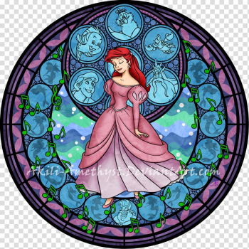Ariel Stained glass Princess Jasmine Window Disney Princess, watercolor stain transparent background PNG clipart png image transparent background