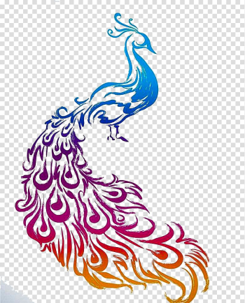 Blue, red, and orange peacock illustration, Diwali Diya Peafowl Rangoli, Hand painted Peacock transparent background PNG clipart png image transparent background
