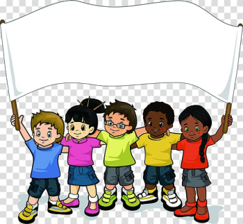 Group of kids raising white banner, Childrens Day Teaching of Jesus about little children Love , Cartoon Children transparent background PNG clipart png image transparent background